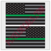 American Flag Decals - Black & Gray w/ Green Line - Tactical