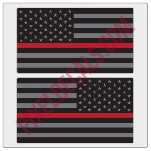 American Flag Decals - Black & Gray w/ Red Line - Tactical