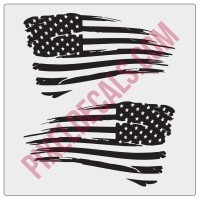 American Flag Decals - Distressed - 1 Color (V1)