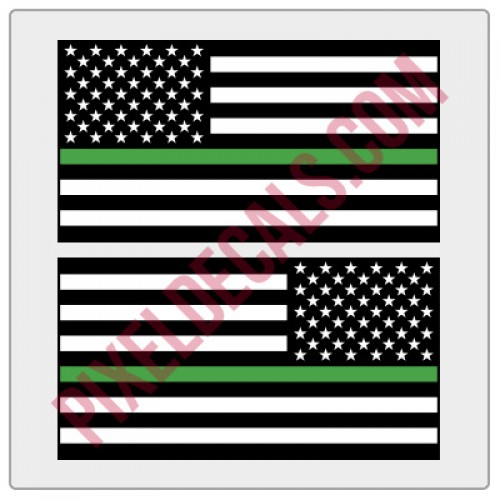 American Flag Decals - 1 Color w/ Green Line