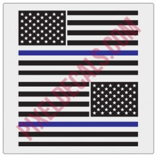American Flag Decals - 1 Color w/ Blue Line - V2
