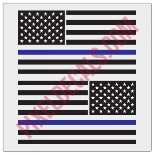 American Flag Decals - 1 Color w/ Blue Line - V2