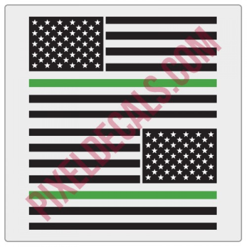 American Flag Decals - 1 Color w/ Green Line - V2