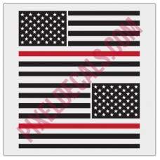 American Flag Decals - 1 Color w/ Red Line - V2