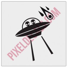 Alien Saucer Windshield Chaser Decal