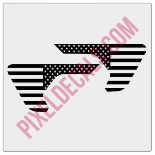 JL Fender Vent American Flag Blackout Decal Pair