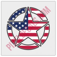 American Flag Invasion Star Decal - Color