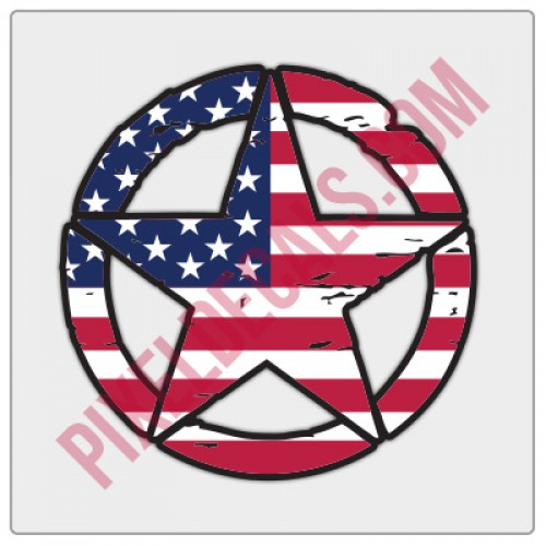 American Flag Invasion Star Distressed Decal - Color