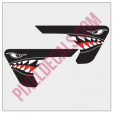 2018+ JL/JT Fender Vent P-40 Shark Mouth Blackout Decal Pair