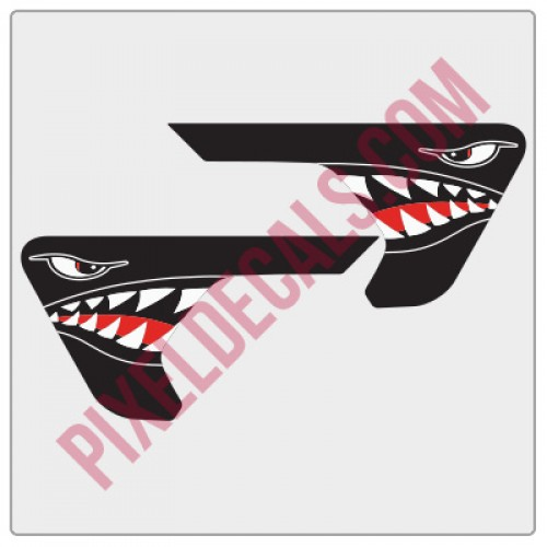 JL Fender Vent P-40 Shark Mouth Blackout Decal Pair