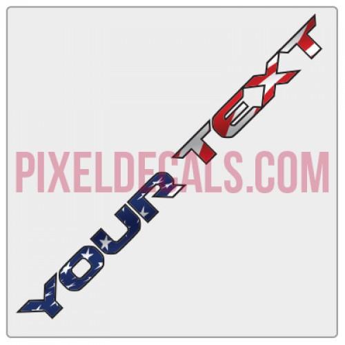 "Customizable ""Rubi JL & JT"" American Flag Hood Lettering Decals (Pair)"