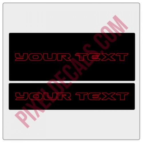 """Customizable """"JK Hard Rock"""" Text Visor Cover Up Decals"""