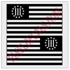 3 Percent Nyberg Flag Decals - Pair