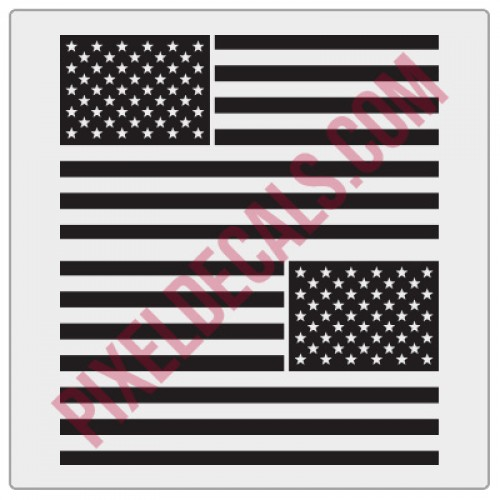 American Flag Decals - 1 Color (V2)