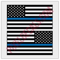 American Flag Decals - 1 Color w/ Blue Line