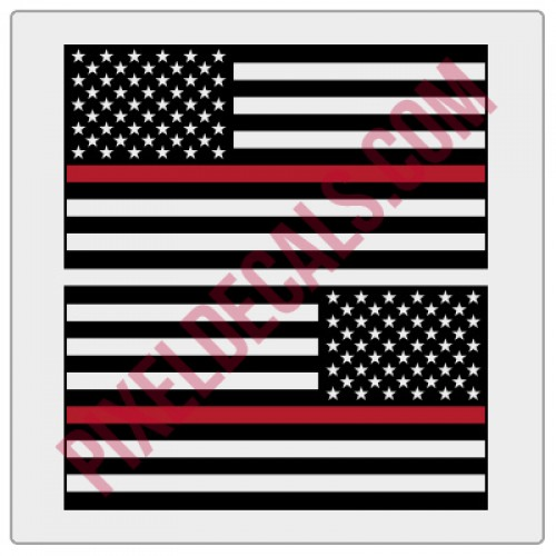 American Flag Decals - 1 Color w/ Red Line