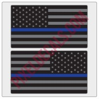 American Flag Decals - Black & Gray w/ Blue Line - Tactical