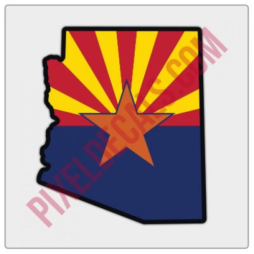 Arizona Flag State Shape Decal - Color