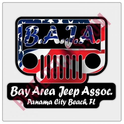 BAJA American Flag Logo Decal - Black