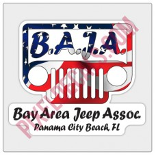 BAJA American Flag Logo Decal - White