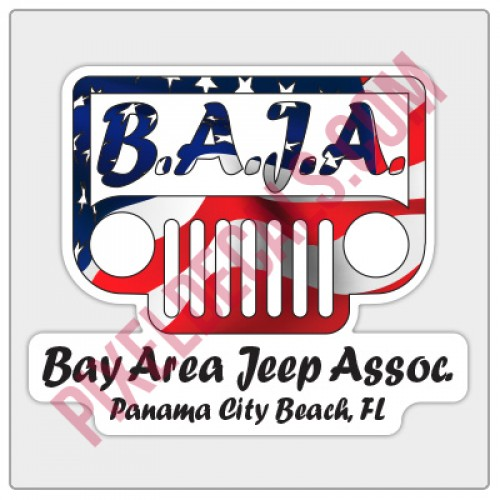 BAJA American Flag Logo Decal - White