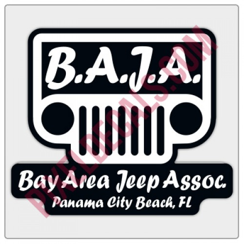 BAJA White/Black Logo Decal