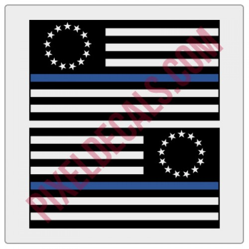 Betsy Ross Flag Decals - 1 Color w/ Blue Line