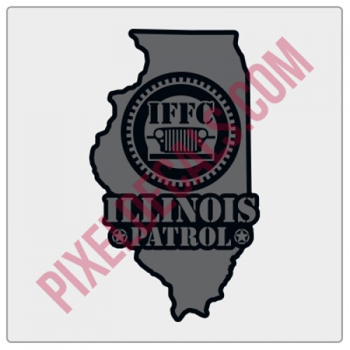 "IFFC Illinois Decal - Grey - 2"" tall size"