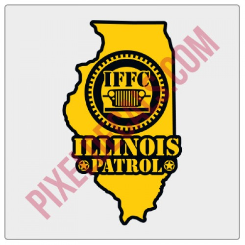 "IFFC Illinois Decal - Yellow - 2"" tall size"