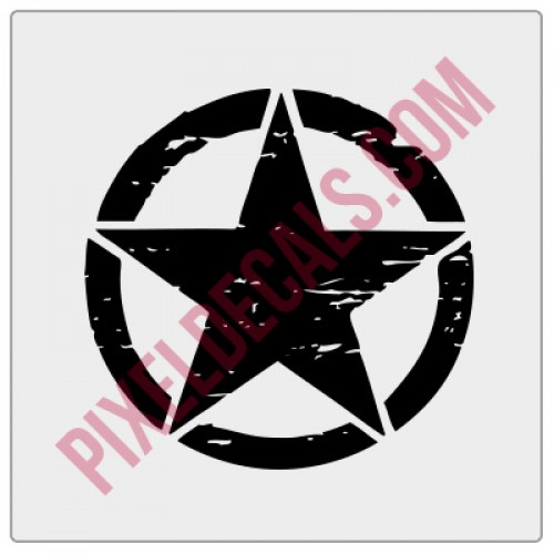 Military Invasion Star Decal - Distressed