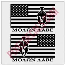 Molon Labe American Flag Decals - 1 Color