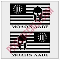 Molon Labe 3 Percent Flag Decals - 1 Color