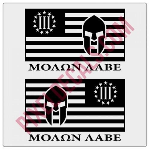 Molon Labe 3 Percent Flag Decals - 1 Color