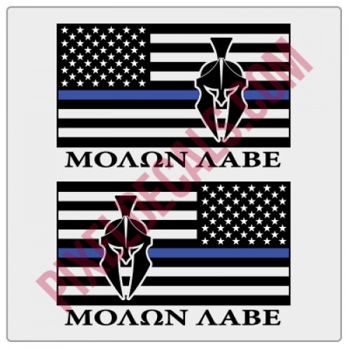 Molon Labe American Flag Decals - 1 Color w/ Blue Line