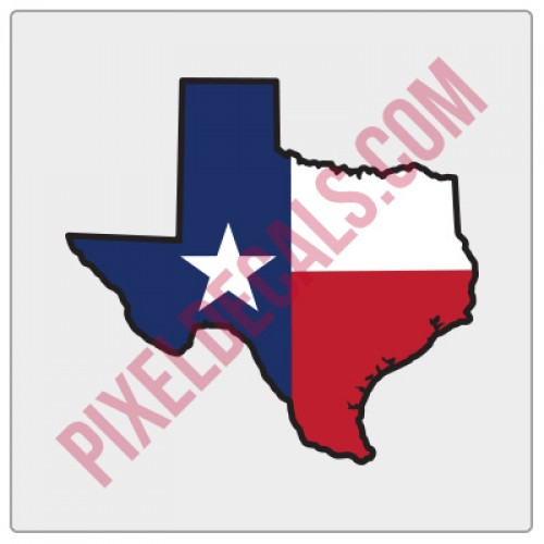 Texas Flag State Shape Decal - Color