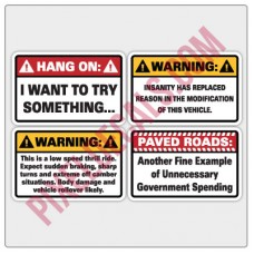 4x4 Warning Sticker 4 Pack